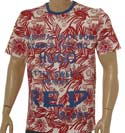 White Cotton T-Shirt with Red & Blue Design