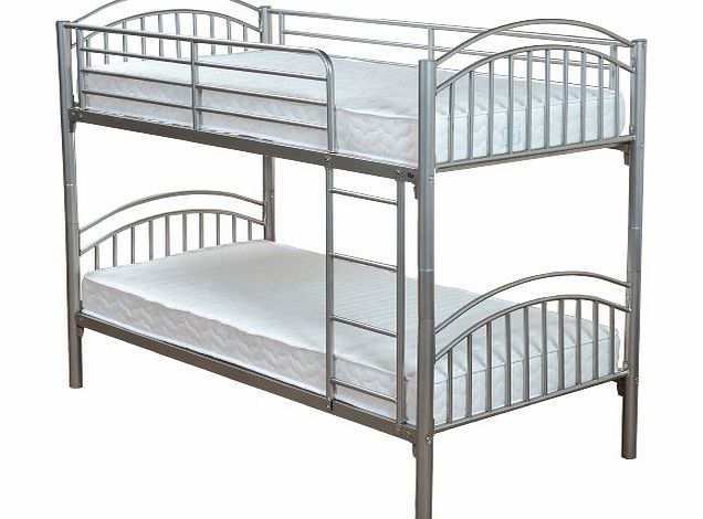Metal Lynton Bunk with 2 Economy Coil Sprung Mattresses 3FT Single Size, L200 x W98 x H160 cm, 4-pieces, Silver