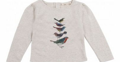 Birds baby pleats T-Shirt Ecru `3 months,6