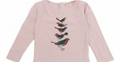 Birds baby pleats T-Shirt Pale pink `3 months,6