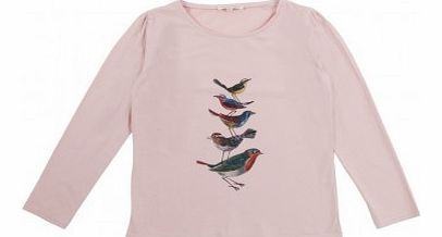 Birds pleats T-Shirt Pale pink `2 years,4