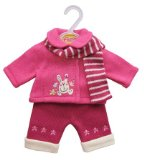 Petite Dolls Pink Jacket,Cream Trousers and Scarf Set for Baby Dolls