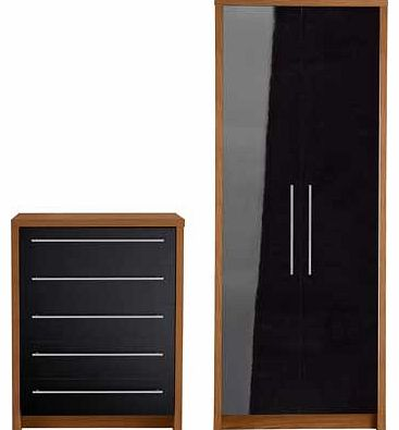 Camden 2 Piece 2 Door Wardrobe Package - Black &