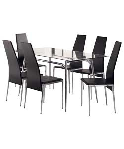 dining table hygena savannah glass ext dining table and 6