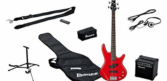 IJSR190-RD Electric Bass Starter Set with Amplifier (Case, Tuner, Headphones, Accessories), Red