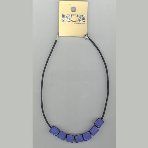 Ladies Icon 5 Cube Bead Necklace Blue