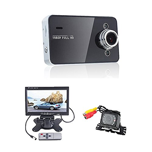 (TM) 1920*1080P HD LCD Video Car Dash Vehicle Recorder Sport Camera + Waterproof Car Rear View Camera with 7 inch LCD Monitor