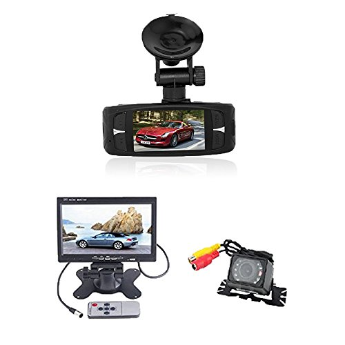 (TM) 2014 Newest 1080P Novatek NT96650 Chip G1WH 2.7`` LCD, 140¡ã Wide Angle Night Vision Motion Car Dash DVR Camera Video Recorder + Waterproof Car Rear View Camera with 7 inch LCD Monitor