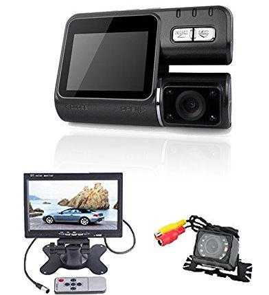 (TM) 720P Car DVR Vehicle Dual Camera Video Recorder Dash with GPS Logger G-sensor + Waterproof Car Rear View Camera with 7 inch LCD Monitor