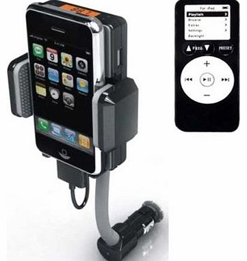 TM)In Car FM Transmitter For iPhone & iPod, All In One Car Kit With Charger & Remote Control Full Hansfree For Apple iPhone