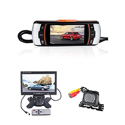 (TM) New Arrival HD 1080P F90 GPS Car DVR Dual Camera + Waterproof Car Rear View Camera, 2.7`` TFT Frontview and 7`` Backview LCD Screen, H.264 5M CMOS With G-Sensor, GPS Logger HDMI & USB 2.