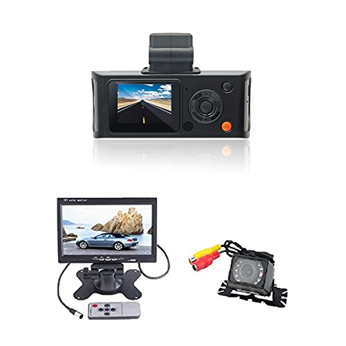 (TM) New Electronics Professional Grade Dash Camera + Waterproof Car Rear View Camera with 7 inch LCD Monitor
