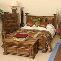 Indian - Bedroom 4ft 6 Bedstead - Sheesham