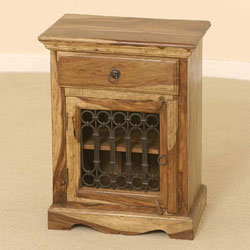 Indian - Jali Bedside Cabinet (Sheesham Wood)
