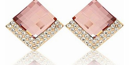 Gold Plated Swarovski Elements Crystal Classic Cute Pink Champagne Square Stud Earrings