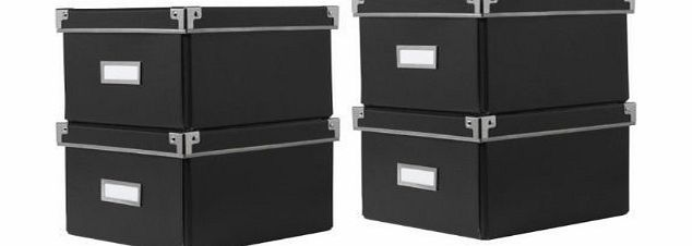 2 x IKEA KASSETT DVD STORAGE BOXES WITH LID BLACK 2 PACK - TOTAL OF 4 BOXES - FITS IKEA BOOKCASES (BILLY / HEMNES / BESTA) - 21cm x 26cm x 15cmEACH BOX HOLDS 15 DVdS/BLURAYS