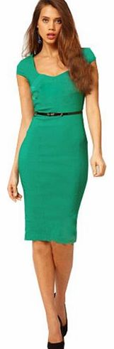 iLoveSIA Womens Stretch Bodycon Business Party Cocktail Pencil Dresses Midi Size 10 Green
