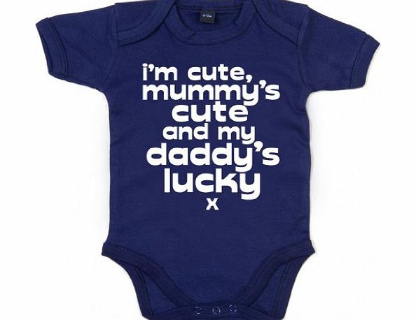 Image is Everything IiE, Im cute,mummys cute and my Daddys lucky x, Baby Boy, Bodysuit, 0-3m, Navy