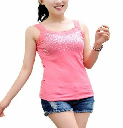 imixlot Ladies Women Lace Strip Crystal Tank Vest Tops Casual Shirt Pink