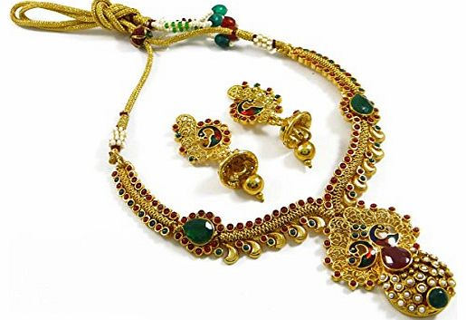 Indianbeautifulart Gold Plated Necklace Set Polki Jewellery South Indian Women Bridal Wear Jewellery Gift For Wife