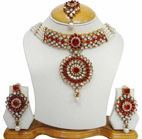 Indianbeautifulart Wedding Bridal Wear Pearl Red CZ Ethnic Necklace Set Traditional Indian Women Jewellery Gift