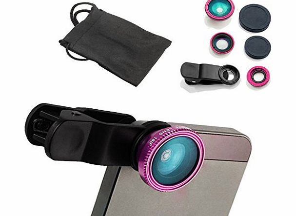 Rose Red Universal 3 in 1 Fisheye-Lens + Wide Angle + Macro Lens Clip Camera Photo Kit For iPhone 6 6 Plus 5 5C 5S 4S 4 3GS iPad mini iPad 4 3 2 Samsung Galaxy S4 S3 S2 Note 3 2 1 Sony Xperia, Motorol