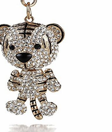 2014 New Cute tiger Gold Plated Alloy and Glass Diamond Key Chain Bag Charm