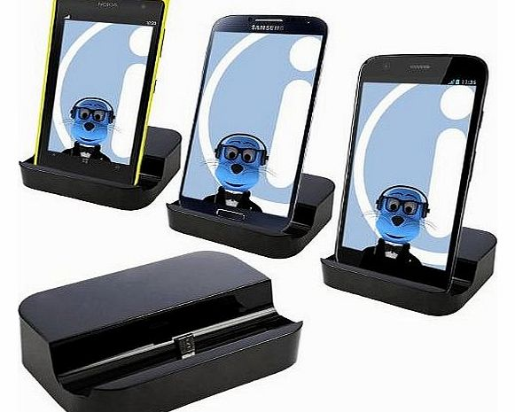 BLACK Micro USB Sync & Charge Desktop Dock Stand Charger For Mobile Phones