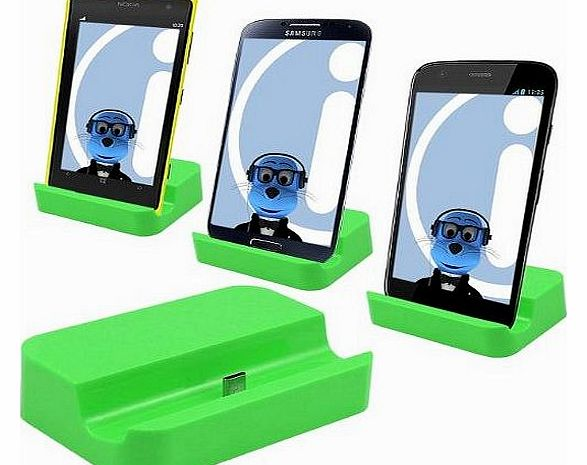 GREEN Micro USB Sync & Charge Desktop Dock Stand Charger For Mobile Phones