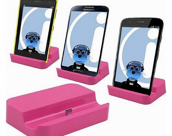 PINK Micro USB Sync & Charge Desktop Dock Stand Charger For Mobile Phones