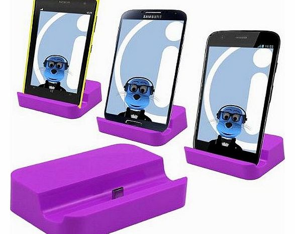 PURPLE Micro USB Sync & Charge Desktop Dock Stand Charger For Mobile Phones