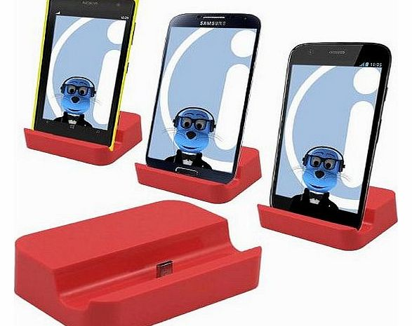 RED Micro USB Sync & Charge Desktop Dock Stand Charger For Mobile Phones