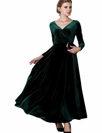 Elegant Gold Velvet Ruffle Long Sleeve Evening Party Ball Gown Long Maxi Dress (UK 14/ Asia XXL, green)
