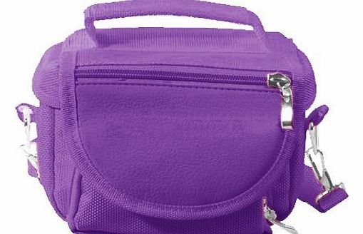 Purple Travel Bag Small Compact Digital Camera Carry Case & Shoulder Strap - Ideal For Canon, Casio, Panasonic, Nikon, Olympus, Pentax, Samsung, Sanyo, Sigma, Sony, Kodak, Aigo, AgfaPhoto, BenQ, E