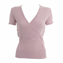 Pink pointelle knitted wrap top