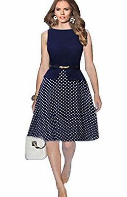 Janecrafts 2014 New Fashion Boutique Fit-and-Flare Dresses Color-Block Polka Dot Print Tank Dress Belted (M)