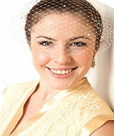 Jelinda Women Wedding Bridal Birdcage Face Veil Pearl Evening Veils White With Comb