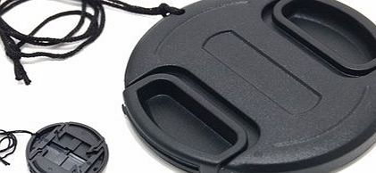 82mm Plastic Snap-on Lens Cap with lens cap keeper for Cameras and Camcorders - Canon, Leica, Nikon, Olympus, Panasonic, Pentax, Samsung, Sigma, Sony etc.