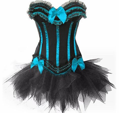JL Corset Burlesque Stripe Corset & Tutu/Petticoat Fancy Dress Set, Hen Party Costume (UK(10-12) L, Blue)