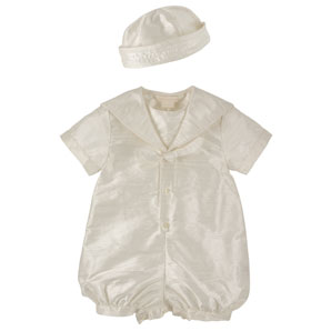 John Lewis Baby Boysand#39; Silk Christening Romper and Hat, Ivory, 9-12 Months