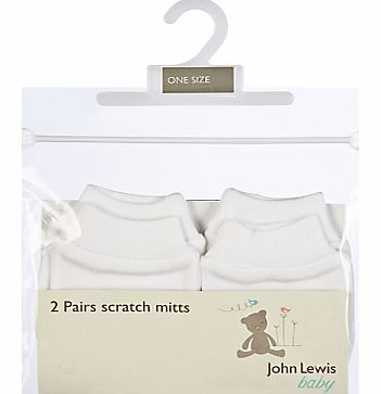 John Lewis Baby Scratch Mitts, White, One Size