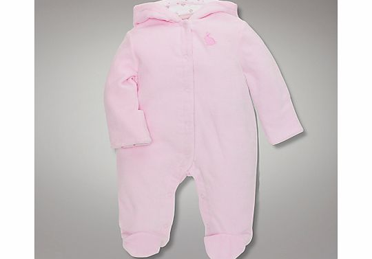 John Lewis Baby Wadded Velour All In One