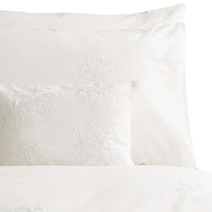 Satin Flower Duvet Cover- White- Super Kingsize