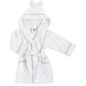 John Lewis Towelling Robe, White/Blue, 6 -12 months