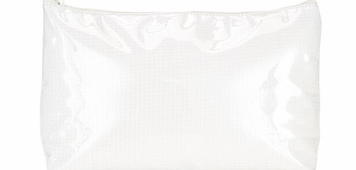 Waffle Print Toiletries Bag, White