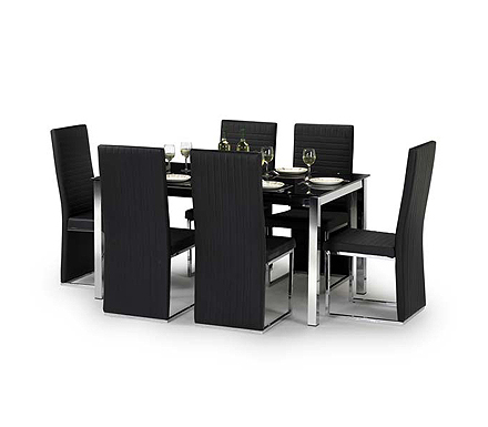 Tempo Rectangular Dining Set with Black Glass Top
