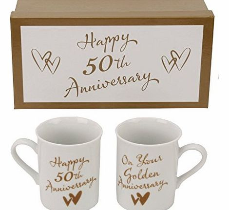Juliana Golden 50th wedding anniversary Set of two Quality Mugs ``on your Golden Anniversary`` CM232