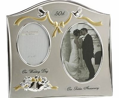 Two Tone Silverplated Wedding Anniversary Gift Photo Frame - ``50th Golden Anniversary``