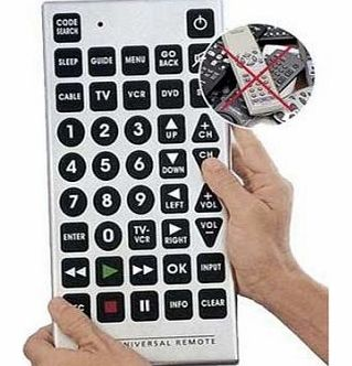 Jumbo Universal TV, Remote Giant Big Massive Buttons. TV, Satillite, DVD, VCR, Cable
