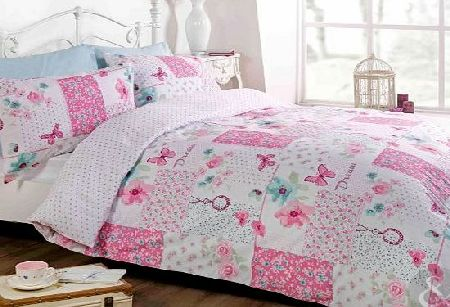 BUTTERFLY FLORAL PATCHWORK DUVET COVER - Reversible White & Pink Bedding Bed Set Pink & White Double Duvet Cover ( girls bedroom )